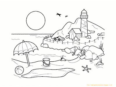 Mewarnai Gambar Pemandangan Alam 10