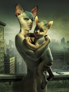 fotomontaje mamá gata y bebe