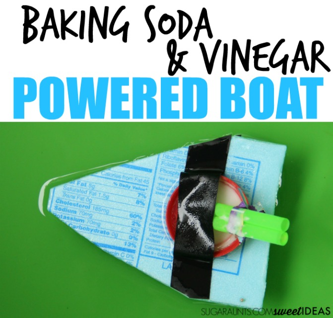 Baking soda and vinegar react in this movement and power STEM activity to power a boat made with recycled materials. This is a fun outdoor STEM science experiment for kids.