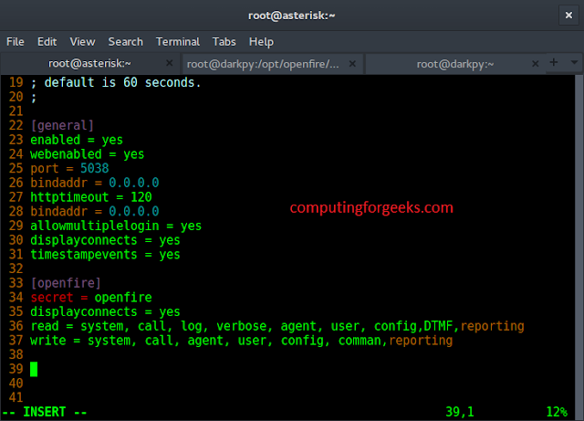 asterisk manager openfire configuration