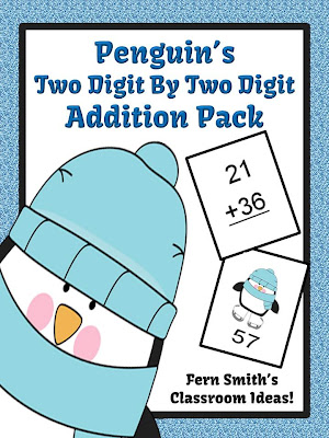 FERN'S FREEBIE FRIDAY ~ PENGUIN'S TWO DIGIT BY TWO DIGIT ADDITION CENTER GAME