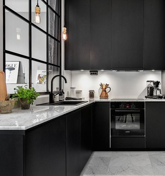 Black Kitchen Cabinets With White Countertops And Black Sink ::  OrganizingMadeFun.com