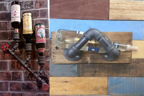 kreasi unik rak botol dari pipa besi bekas