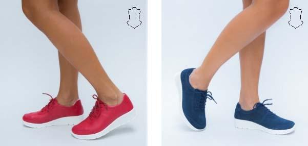 Pantofi casual dama din piele naturala rosii, bleumarin moderni