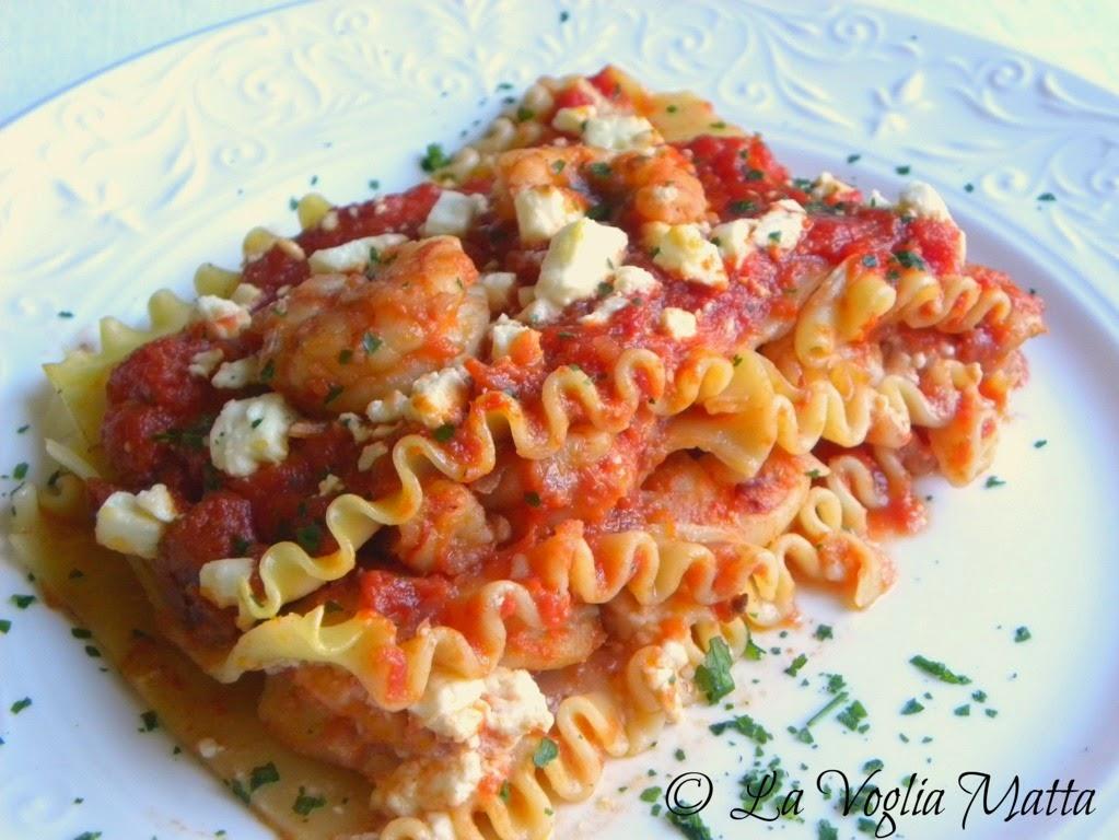 ricetta lasagne gamberi feta ouzo