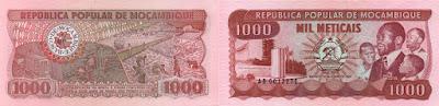 Mozambique: Billete de 1000 meticales mozambiqueños antiguos de 1983