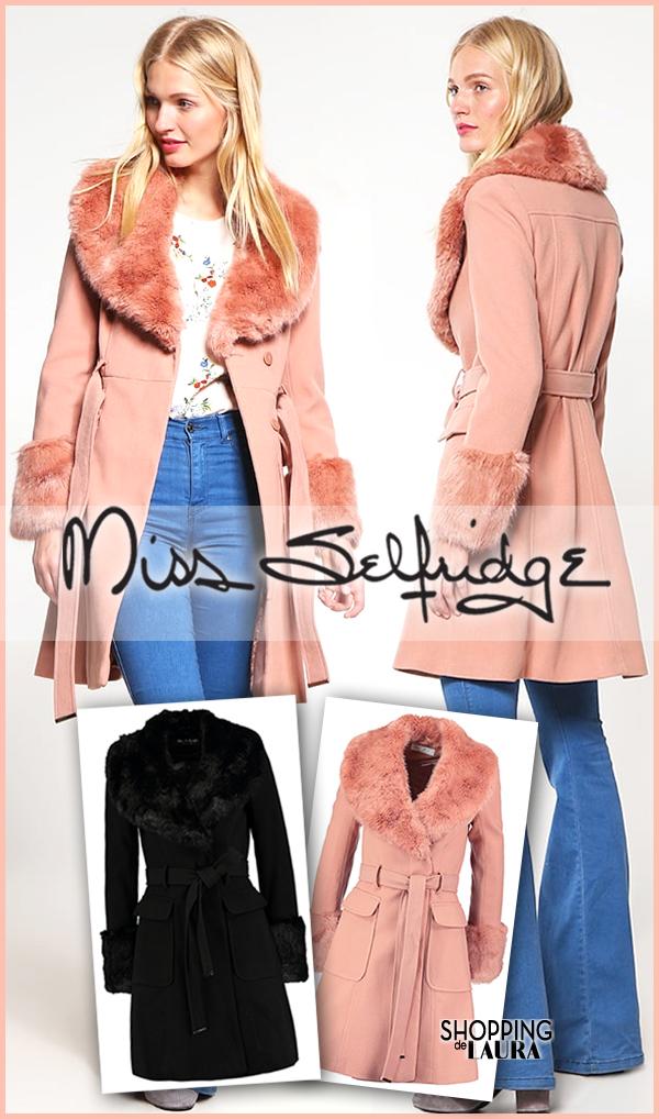 Manteau col fausse fourrure rose ou noir MISS SELFRIDGE