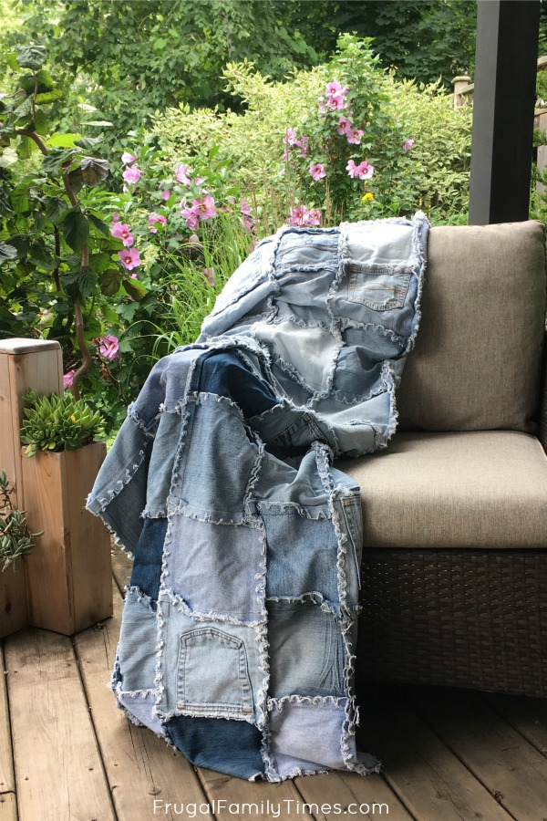 Denim Quilt Using Old Jeans