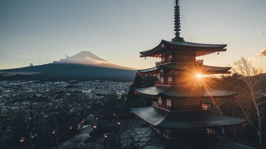 Mount Fuji Japan City Landscape Scenery 4k 3840x2160