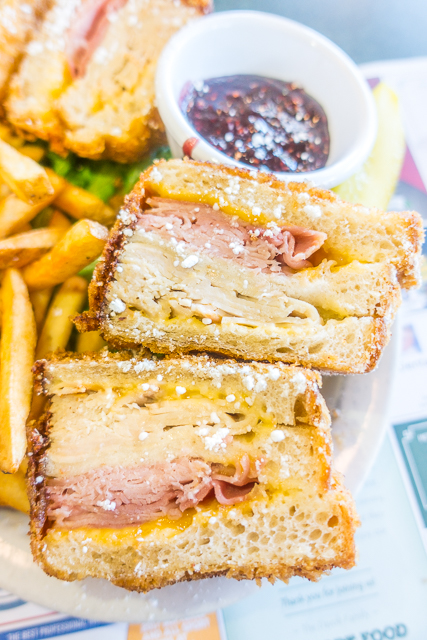 Monte Cristo Sandwich at Metro Diner -  Where to Eat in St. Augustine, Florida - we found several hidden gems in St. Augustine that you MUST try on your next trip. Pizza, Burgers, Sandwiches, Craft Cocktails, and CRAZY milkshakes! Something for everyone!!