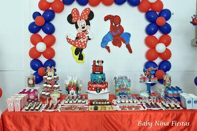mesa dulce doble minnie mouse spiderman