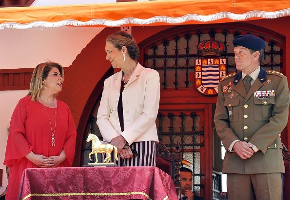 Infanta Elena presented Golden Horse (Caballo de Oro) award to the Royal Guards with a ceremony held during Jerez Horse Fair in Cadiz city of Spain