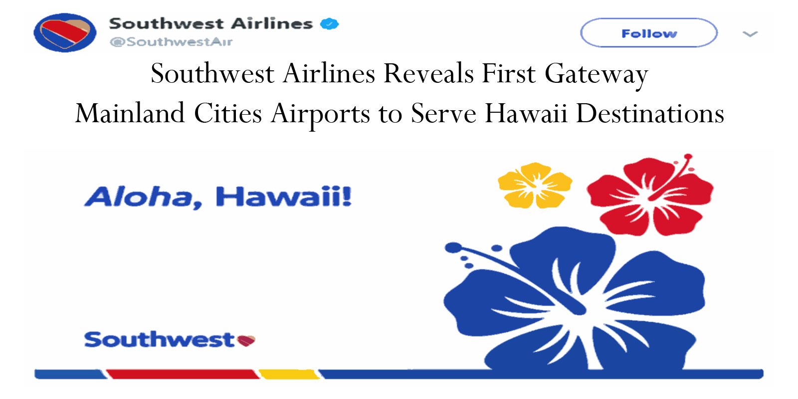 southwest will initially serve four airports in hawaii