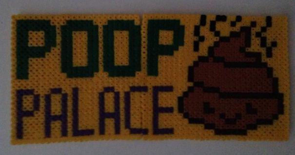 20+ Of The Most Creative Bathroom Signs Ever - From My Home. Made By Perler Beads.