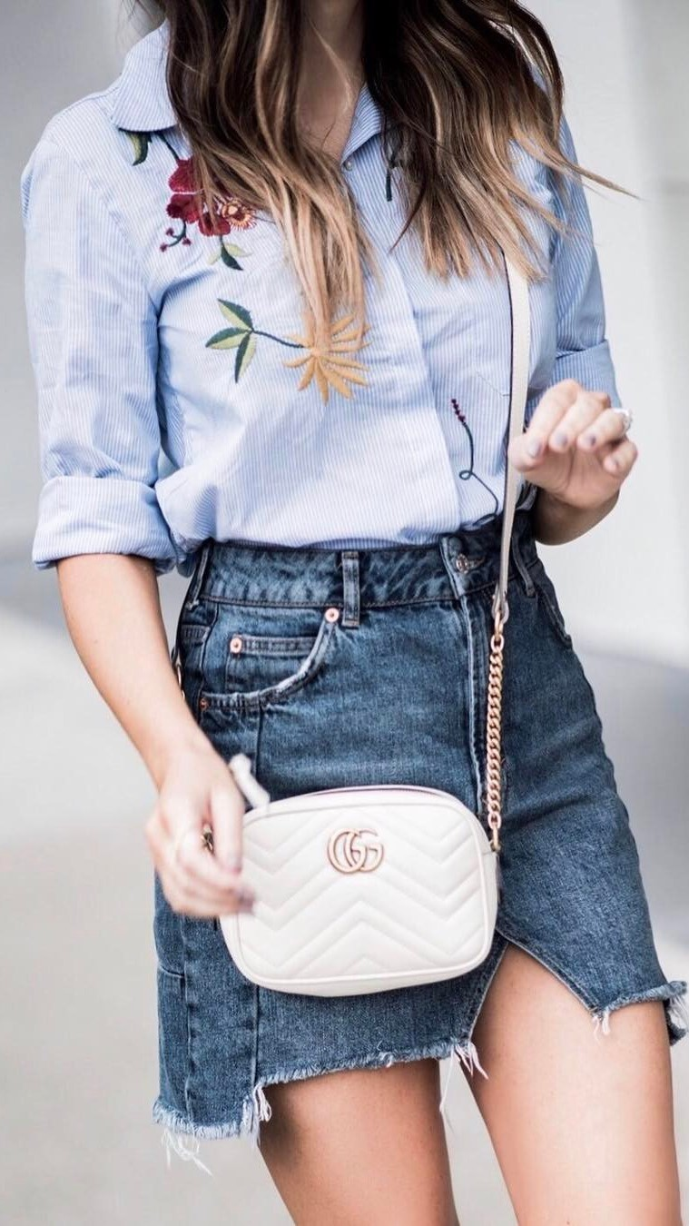 cute ootd: shirt + denim skirt + bag