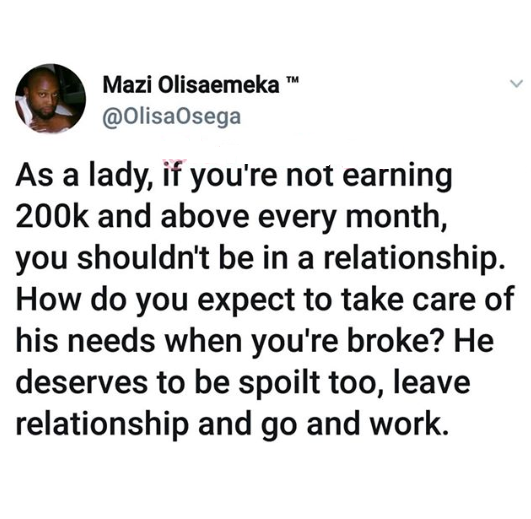 A lady earning below 200K a month shouldn't be in a relationship - Nigerian man says