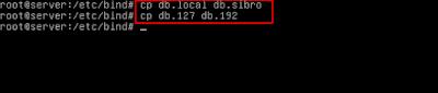 Kemudian buat file db.sibro dan db.192 dengan mengcopy file db.local dan db.127