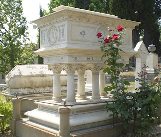 Elizabeth Barrett Browning's tomb in the Protestant English Cemetery in Florence