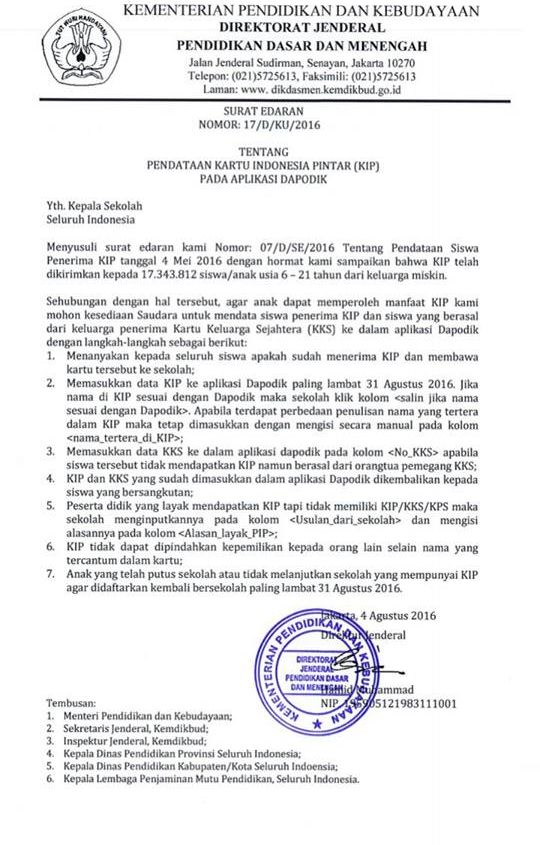 Download Surat Edaran Nomor 07dse2016 Tentang Pendataan