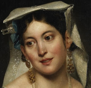 Painting of a 19th century Italian woman wearing earrings