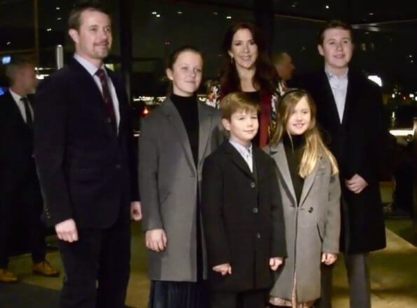 Prince Christian, Princess Isabella, Prince Vincent and Princess Josephine. Crown Princess Mary wore a reversible robe coat by Etro