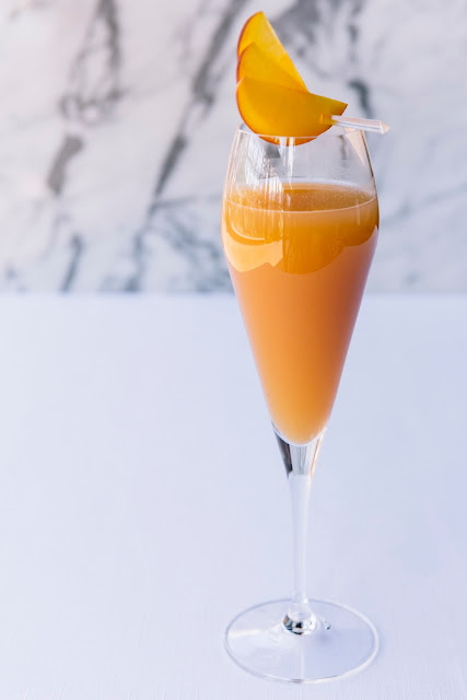 Eating Fabulously, Christopher Stewart, peach bellini's, Sunday brunch, Salute in Las Vegas