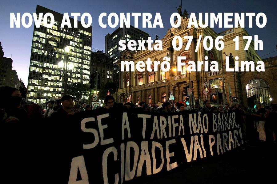 HOJE, 17H! Novo ato contra o aumento! Em frente ao Metrô Faria Lima!