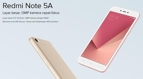 Harga Xiaomi Redmi Note 5A 2018 di Indonesia dan Spesifikasi