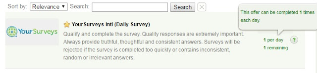 Screenshot of daily survey