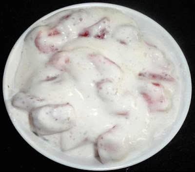 Strawberry raita ready to serve