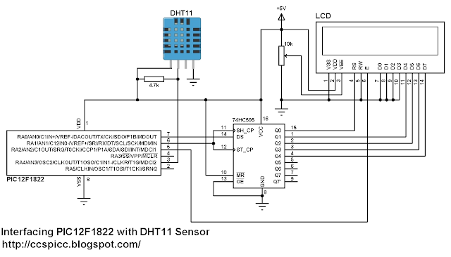 Interfacing PIC12F1822 with DHT11 (RHT01) sensor circuit CCS C