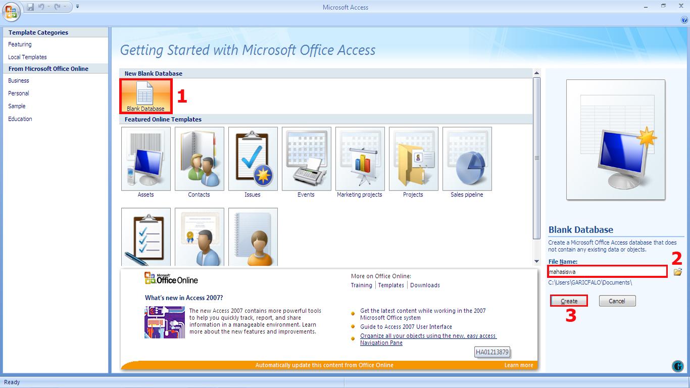 Cara Membuat Aplikasi Sederhana Menggunakan Microsoft Access 2007