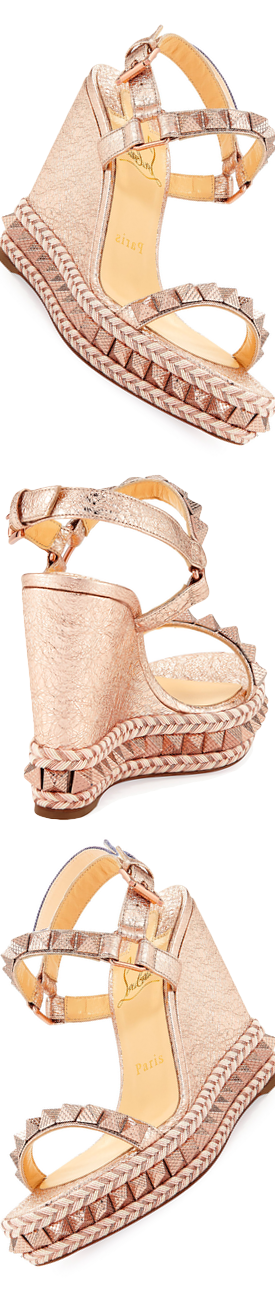 Christian Louboutin Pyraclou Metallic Red Sole Sandal Rose Gold