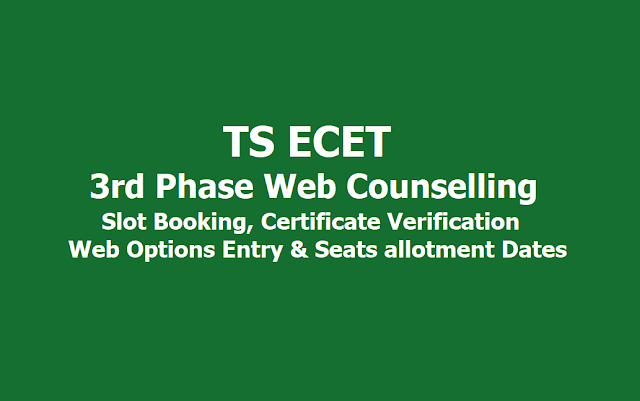 TS ECET 3rd Phase Counselling: Slot Booking, Certificate Verification, Web Options Entry dates 2019