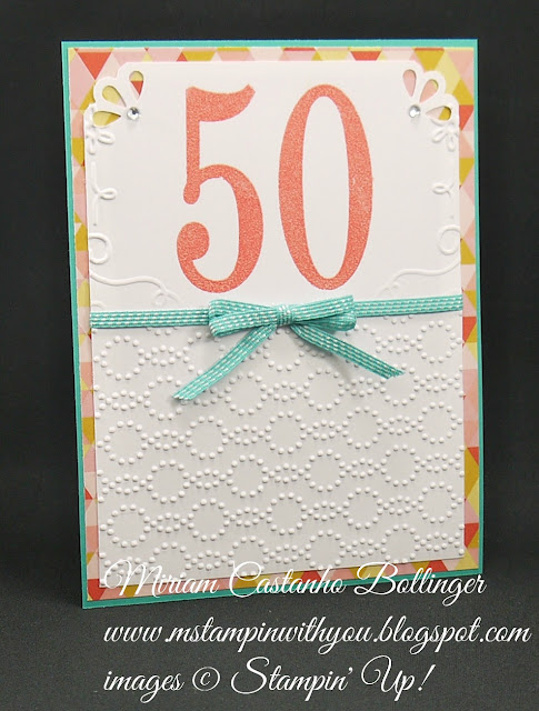 Miriam Castanho-Bollinger, #mstmapinwithyou, stampin up, demosntrator, cts, birthday card, flower pot dsp, number of years stamp set, big shot, elegant dots tief, filigree frame tief, heat embossing, su