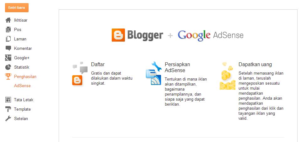 halaman dasboard blogger