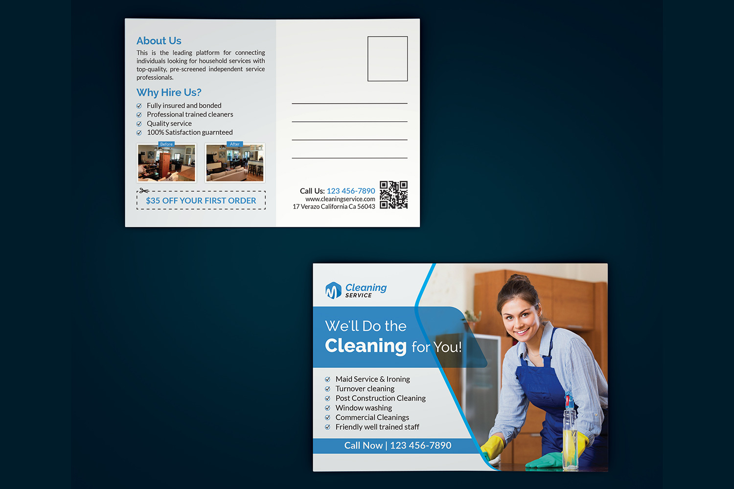 Cleaning Service Postcard Template Free Download Maxpoint Hridoy