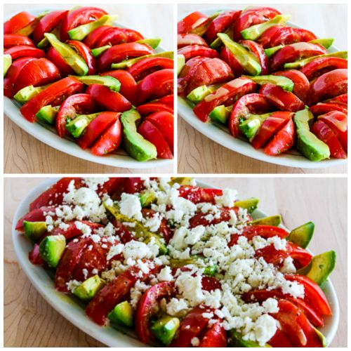 Tomato, Avocado, and Feta Salad with Tahini-Balsamic Vinaigrette found on KalynsKitchen.com