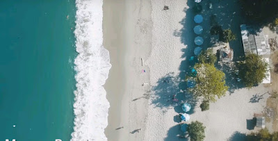 A royalty free of aerial drone shot of  on mawun beach in Lombok