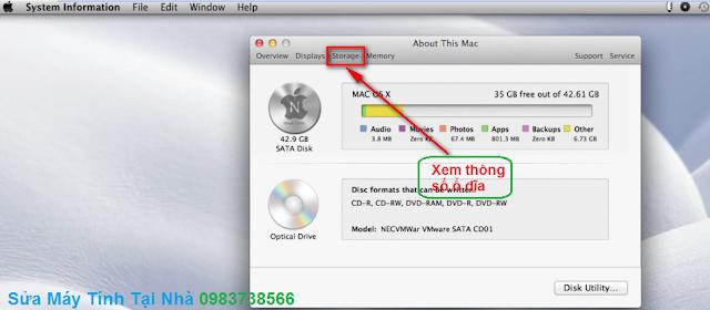 Xem cấu hình ổ cứng, CD của Macbook