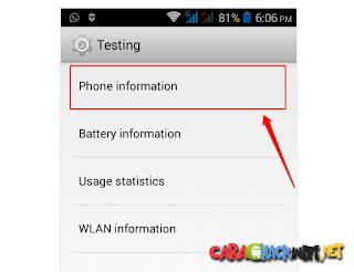Membuka menu testing di Android