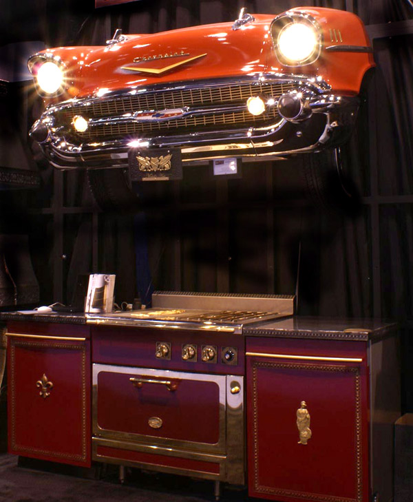 A vintage Chevy's front end crafted into a functional range hood by Bastille Metal Works.