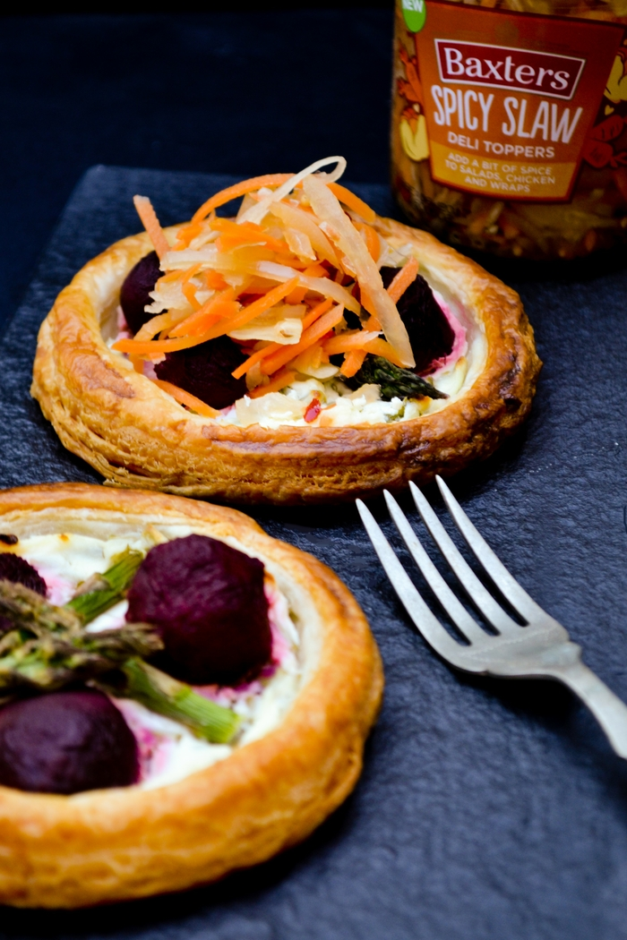 Beet, Chive & Asparagus Tarts with Spicy Slaw