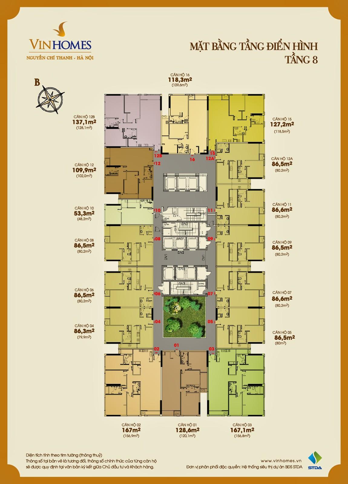Mặt bằng điển hình tầng 8 Vinhomes Nguyễn Chí Thanh