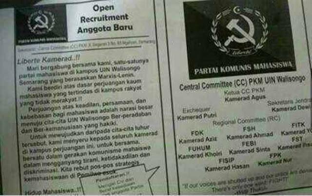 Pamflet Perekrutan Anggota Partai Komunis Beredar di UIN Walisongo