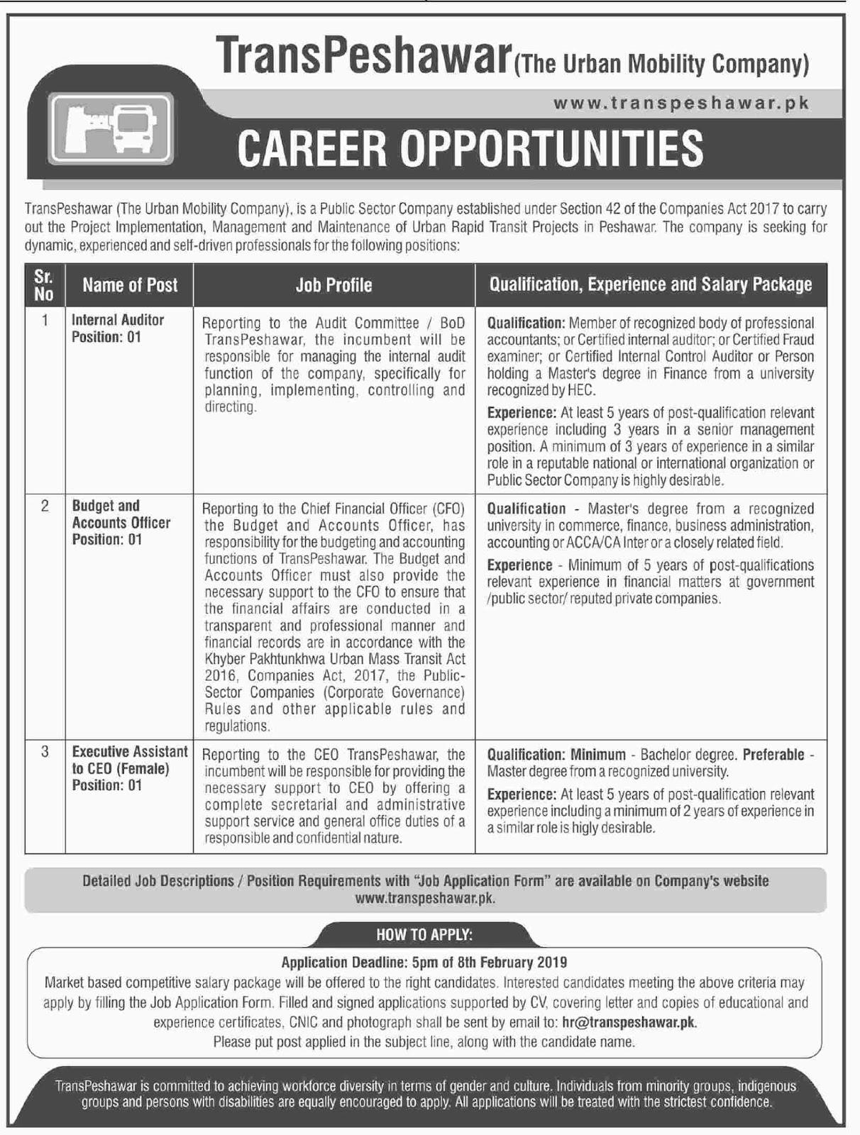 Jobs Vacancies In Trans Peshawar The Urban Mobility Company 24 January 2019
