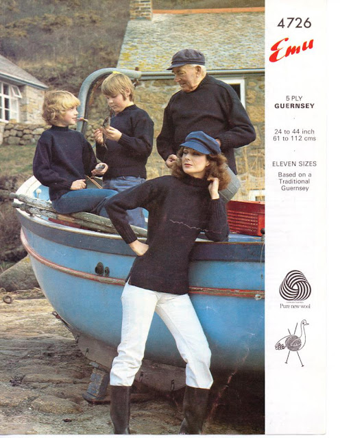 The Vintage Pattern Files: Free 1970s Knitting Pattern - Traditional Gansy for all the Family