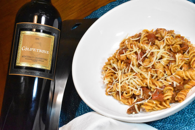 Còlpetrone Montefalco Sagrantino and Pasta with Red Pesto & Truffle Meat Sauce