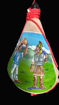 bota de vino pintada. romano bebiendo de bota de vino