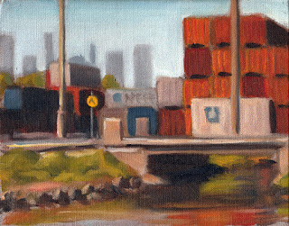 Oil painting of stacked shipping containers with a bridge crossing a river in the foreground and tall city buildings in the background.